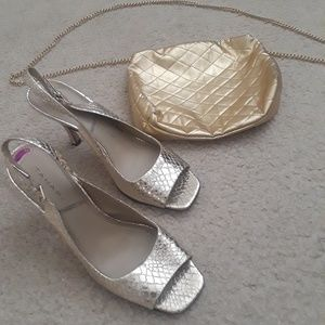 Tahari gold shoes and Italian purse